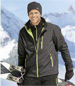 Men's Grey Soft Shell Jacket - Green Microfleece Lining