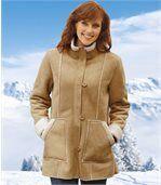 Mantel in Wildlederoptik mit Teddyfutter preview1