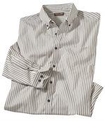 Men's Anthracite Grey Striped Poplin Shirt - Cotton preview2