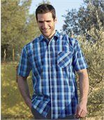 Men's Checked Blue Short Sleeve Shirt preview1