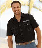 Men's Black Sailing Print Shirt preview1