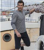 Men's Grey Striped Henley Top preview1