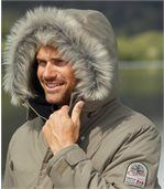 Men's Beige Parka Coat with Faux Fur Hood - Canadian Road Trip preview5