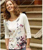 T-shirt met bloemenen libellen preview1