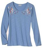 Women's Blue Long Sleeve Top - Floral Motif preview2