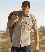 Men's Beige Short-Sleeved Safari Shirt preview1