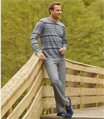 Men's Grey Comfortable Striped Pyjamas