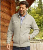 Melierte Strickjacke mit RV