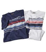 Pack of 2 Men's Cyclades T-Shirts - White Navy preview1