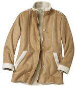 Semišový kabát podšitý umelou kožušinou