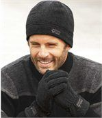 Men's Grey Fleece Beanie And Gloves Set preview2