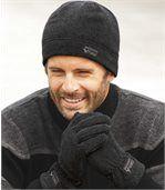 Men's Dark Grey Fleece Hat And Gloves Set