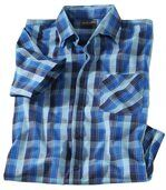 Men's Checked Blue Short Sleeve Shirt preview2