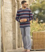Men's Striped Cotton Pyjamas - Blue Red Grey preview1