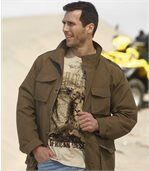 Men's Tan Multi-Pocket Safari Jacket