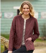 Women's Pink Zip-Up Faux Suede Jacket preview3