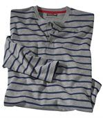 Men's Grey Striped Henley Top preview2