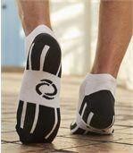 Pack of 4 Pairs of Men's Trainer Socks - Black Navy Grey White