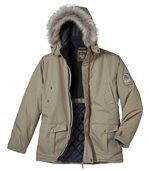 Men's Beige Parka Coat with Faux Fur Hood - Canadian Road Trip preview2