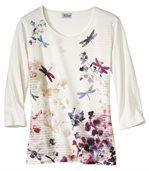 T-shirt met bloemenen libellen preview2