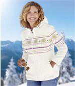Women's White Ushanka Hat Polar Fleece Jacket