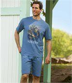 Men's Blue Short Pyjamas with Deer Print
