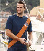 Men's T-Shirt - Navy Orange - Sailing Team preview1