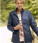 Women's Navy Faux Leather Jacket