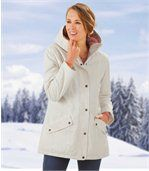 Women's White Winter Parka Coat with Hood preview1