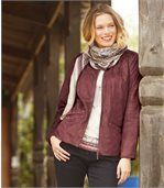 Women's Pink Zip-Up Faux Suede Jacket preview4