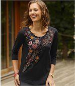 3/4-Arm-Shirt Herbsttraum mit Knopfleiste preview1