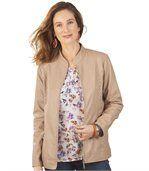 Women's Beige Faux Leather Jacket preview1