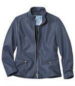 Women's Navy Faux Leather Jacket  preview4