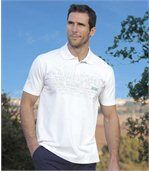 Pack of 2 Men's Jersey Polo Shirts - White Blue  preview2