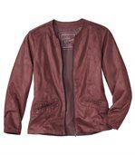 Women's Pink Zip-Up Faux Suede Jacket preview2