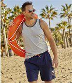 Pack of 3 Men's Beach Vests - Blue Grey Coral