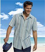 Men's Light Blue Striped Crepe Shirt preview1