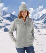 Women's Grey Knitted Jacket with Fleece Lining preview1