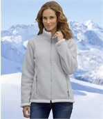 Women's Grey Sherpa-Lined Fleece Jacket