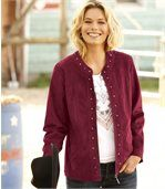 Women's Burgundy Faux-Suede Jacket preview1