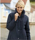 Women's Blue Parka Coat - Shawl Collar preview1