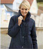Women's Blue Parka Coat - Shawl Collar preview1