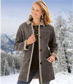 Semišový kabát zateplený umělým beránkem preview1