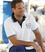 Pack of 2 Men's Nautical Polo Shirts - Turquoise White preview2