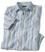 Men's Light Blue Striped Crepe Shirt preview2
