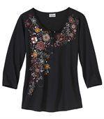 3/4-Arm-Shirt Herbsttraum mit Knopfleiste preview2