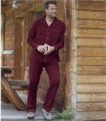 Men's Burgundy Traditional Flannel Pyjamas