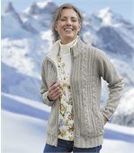 Women's Grey Knitted Jacket with Fleece Lining