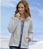 Women's Grey Sherpa-Lined Fleece Jacket preview2