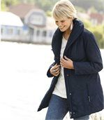 Women's Blue Parka Coat - Shawl Collar preview2